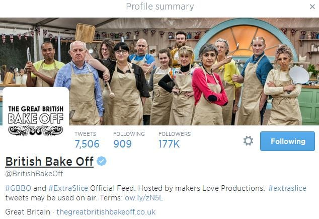 Great British Bake Off banner from Twitter