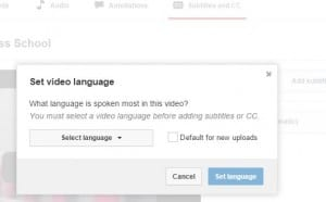 YOUTUBE set language