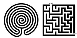 a labyrinth is not a maze, you can't get lost in a labyrinth