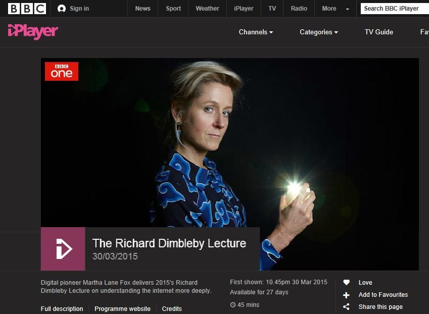 image of Martha Lane Fox Dimbleby Lecture on BBC iPlayer