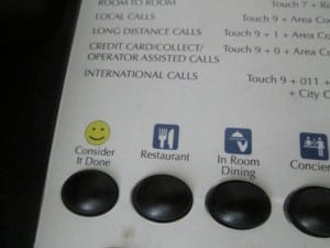 Telephone with consider it done button