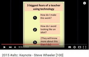 3 fears students have about using technology from Steve Wheeler ALTC15 keynote https://www.youtube.com/watch?v=JX-OzNCSgMM