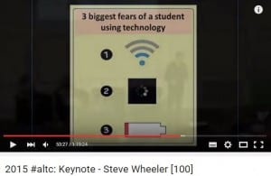 3 fears teachers have about using technology from Steve Wheeler ALTC15 keynote https://www.youtube.com/watch?v=JX-OzNCSgMM