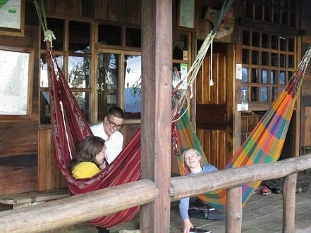 Relaxing in the hammocks!