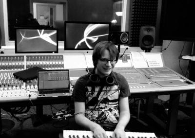 Me in the studio at UoL badly playing the keyboard.🎓