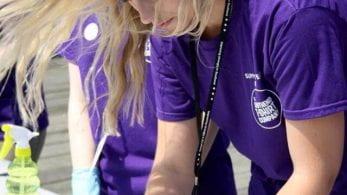 Female student in purple t-shirt