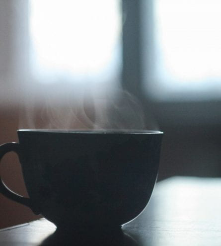 Close up of a cup of hot drink.