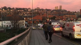 Pink sky over the Lincoln skyline