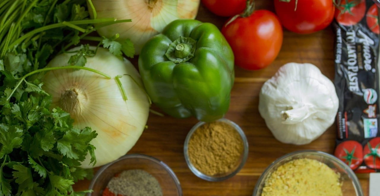 Peppers, onions, garlics, tomatoes, herbs and spices