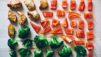 Chopped vegetables/food in a square formation