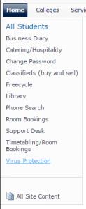 Screenshot of list of options