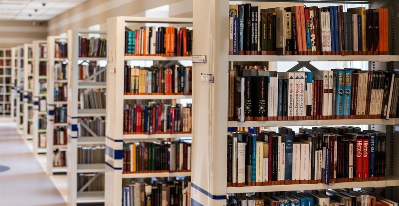 University library bookshelves.