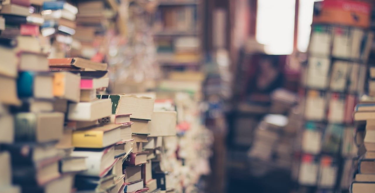 Stacks of books in a shop