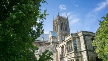 Lincoln Cathedral with a blue sky