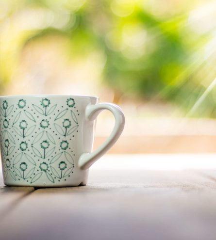 A mug on a table.