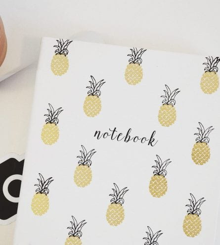 Notebook decorated with pinapples