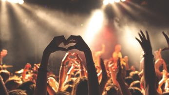concert, hands up. Hands making a love heart