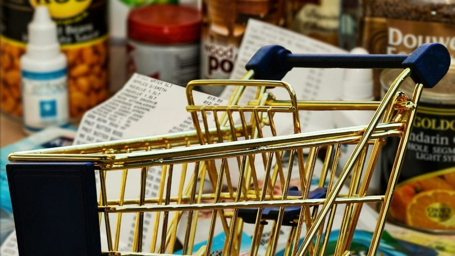 shopping trolley and products