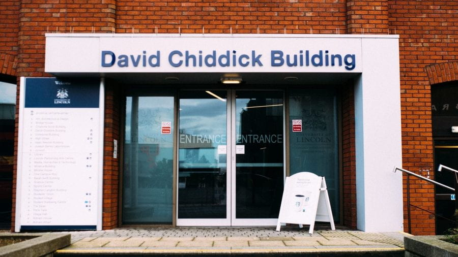 The entrance to the David Chiddick Building on the University of Lincoln Campus