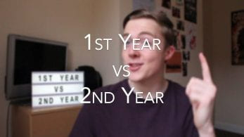 A young man triumphantly holds his hand in the air with the caption '1st Year vs 2nd Year'