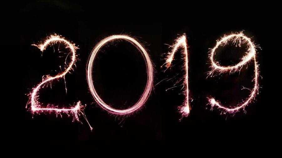 2019 written using light art/sparklers.
