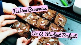 Thumbnail of people's hands taking pieces of brownie, saying 'festive brownies on a student budget'