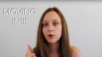 Thumbnail of a girl looking confused, saying 'moving in!!!'