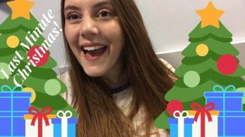 Thumbnail of a girl smiling with Christmas tree graphics around her, saying 'last minute Christmas!'