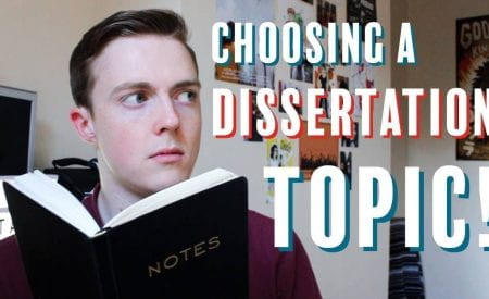 Thumbnail of a man reading a notebook, saying 'choosing a dissertation topic!'
