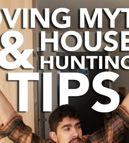 Thumbnail of a man with his arms in the air, saying 'moving myths & house hunting tips'