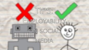 Thumbnail of a robot with a red cross and a cartoon man with a green tick, saying 'tips: employability on social media'
