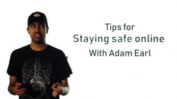 Thumbnail of a man looking confused, saying 'tips for staying safe online with Adam Earl'
