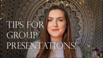 Thumbnail of a girl smiling in front of a tapestry, saying 'tips for group presentations'