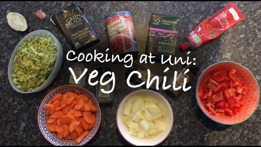 Thumbnail of ingredients in bowls on a work surface, saying 'cooking at uni: veg chili'