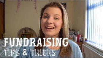 Thumbnail of a girl smiling, saying 'fundraising tips & tricks'