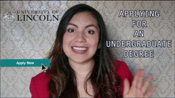 Thumbnail of a girl smiling, with a button saying 'Apply Now' with a cursor clicking on it, saying ' Applying for an undergraduate degree'