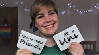 Thumbnail of a girl smiling in front of fairy lights, saying 'how to make friends at uni'