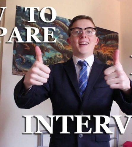 Thumbnail of someone in a suit giving a thumbs up, saying 'how to prepare for an interview'