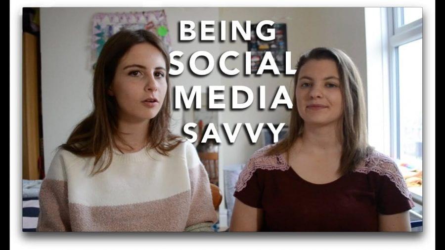 Thumbnail of two girls smiling, saying 'being social media savvy'