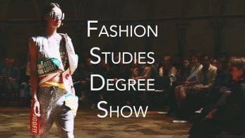 Thumbnail of a model walking down a catwalk, saying 'fashion studies degree show'