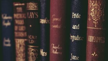 Close-up of blue and red leather spines of classical novels stacked vertically