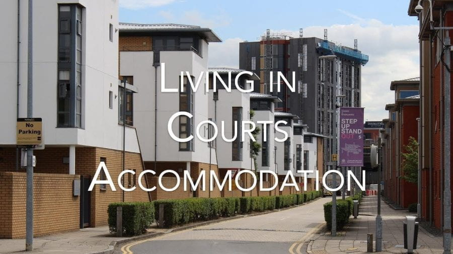 Down the road of Lincoln Courts, saying 'Living in Courts Accommodation'