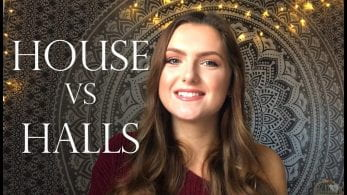 Thumbnail of a girl smiling in front of a tapestry, saying 'house vs halls'