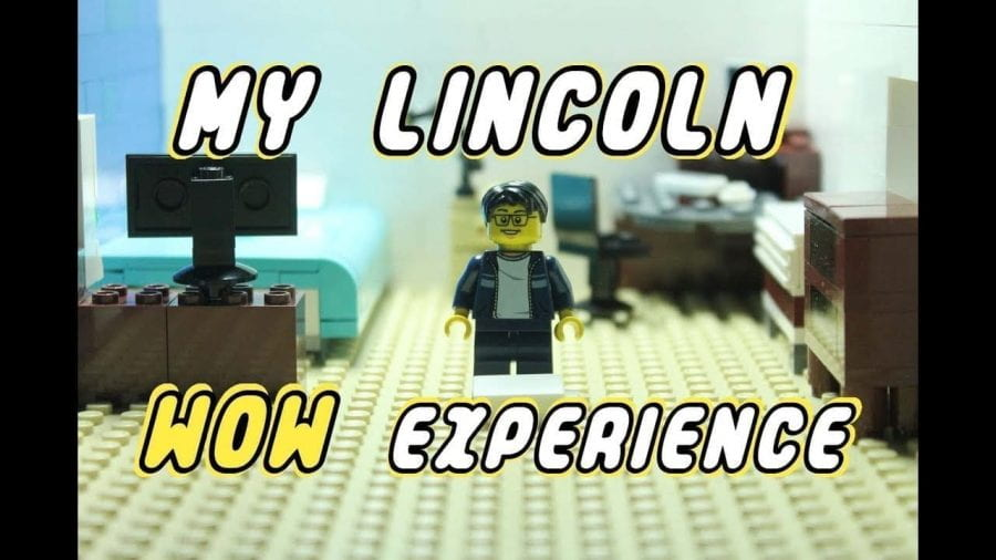 Picture of a Lego set with a minifigure in a bedroom, saying 'My Lincoln WOW Experience'