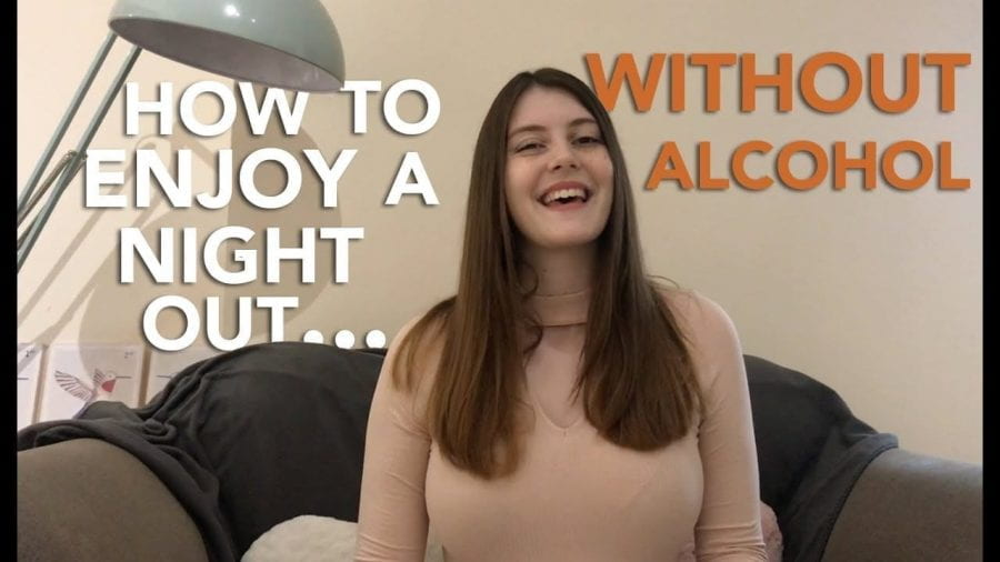 Thumbnail of a girl smiling, sat on a sofa, saying 'How to enjoy a night out... without alcohol'