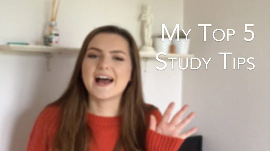Thumbnail of a girl waving, saying 'my top 5 study tips'