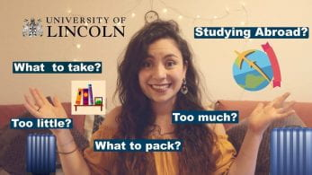Thumbnail of a girl looking confused, saying 'studying abroad? what to take? too little? too much? what to pack?'