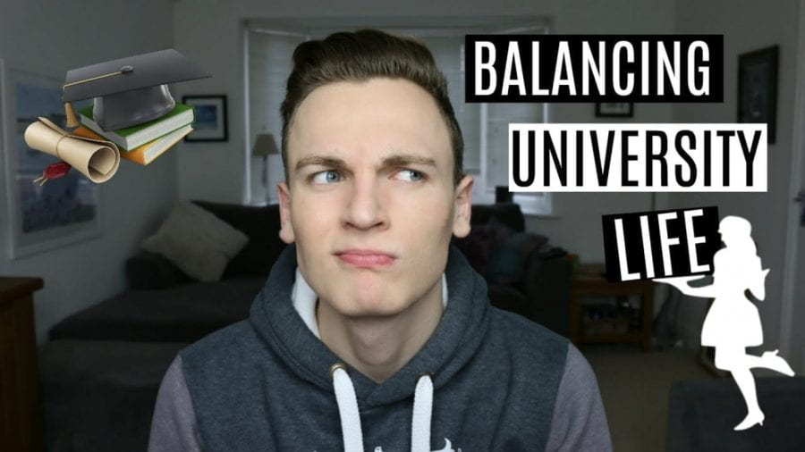 Thumbnail of a man looking confused, saying 'balancing university life'