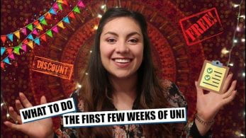 Thumbnail of a girl smiling, saying 'What to do the first few weeks of uni'