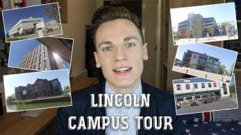 Thumbnail of a boy smiling, with photographs of places across campus, saying 'Lincoln campus tour'